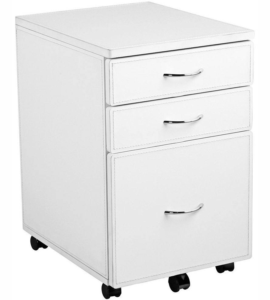 Leather Covered 3-Drawer File Cabinet in File Cabinets