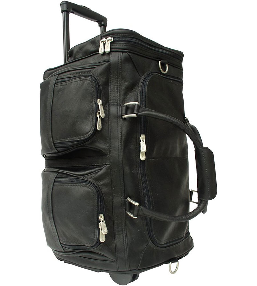 Rolling Leather Duffel Bag In Duffel Bags