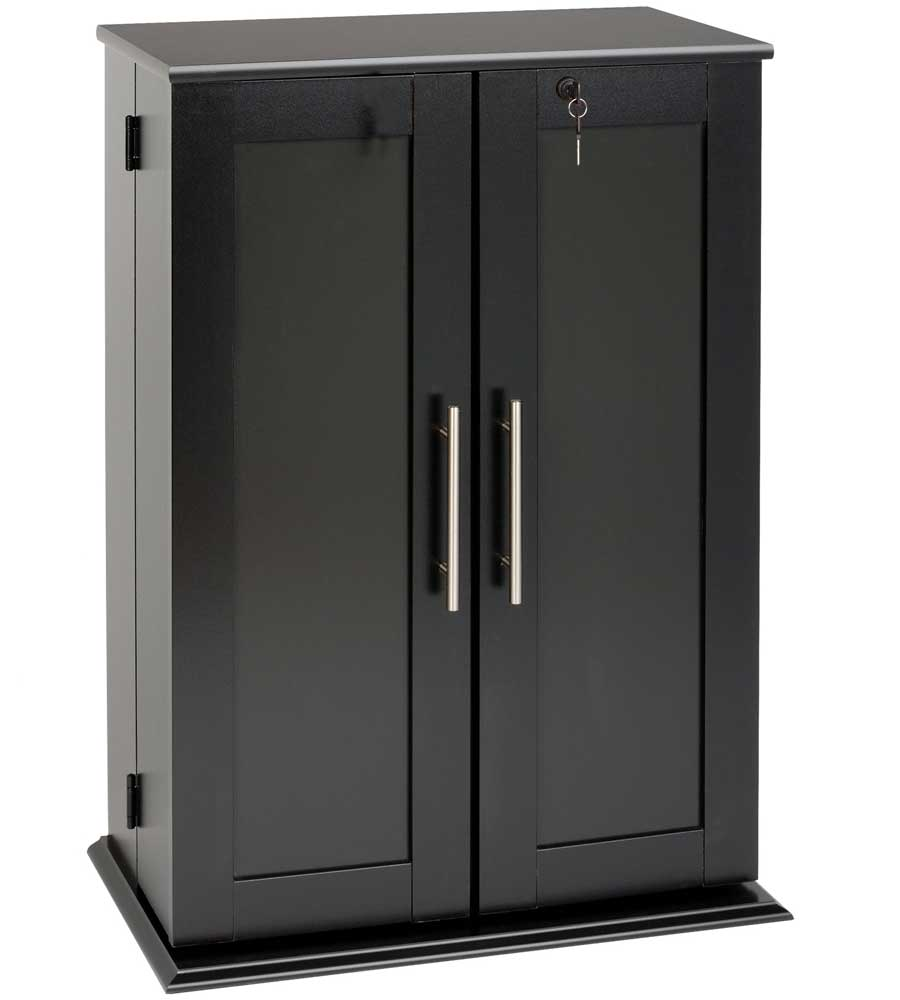 Media storage cabinet with doors in media storage cabinets for Black cabinet with doors
