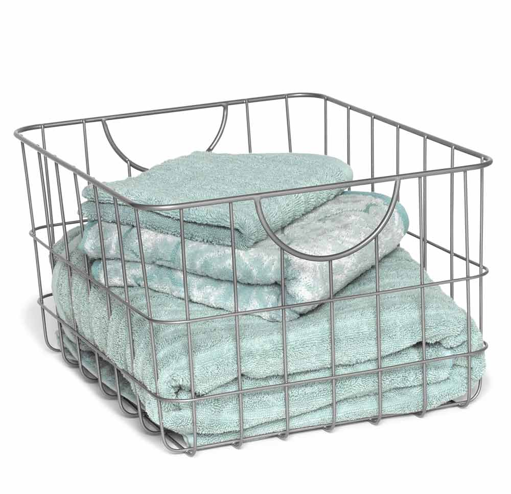 metal wire basket with handles in wire baskets. Black Bedroom Furniture Sets. Home Design Ideas