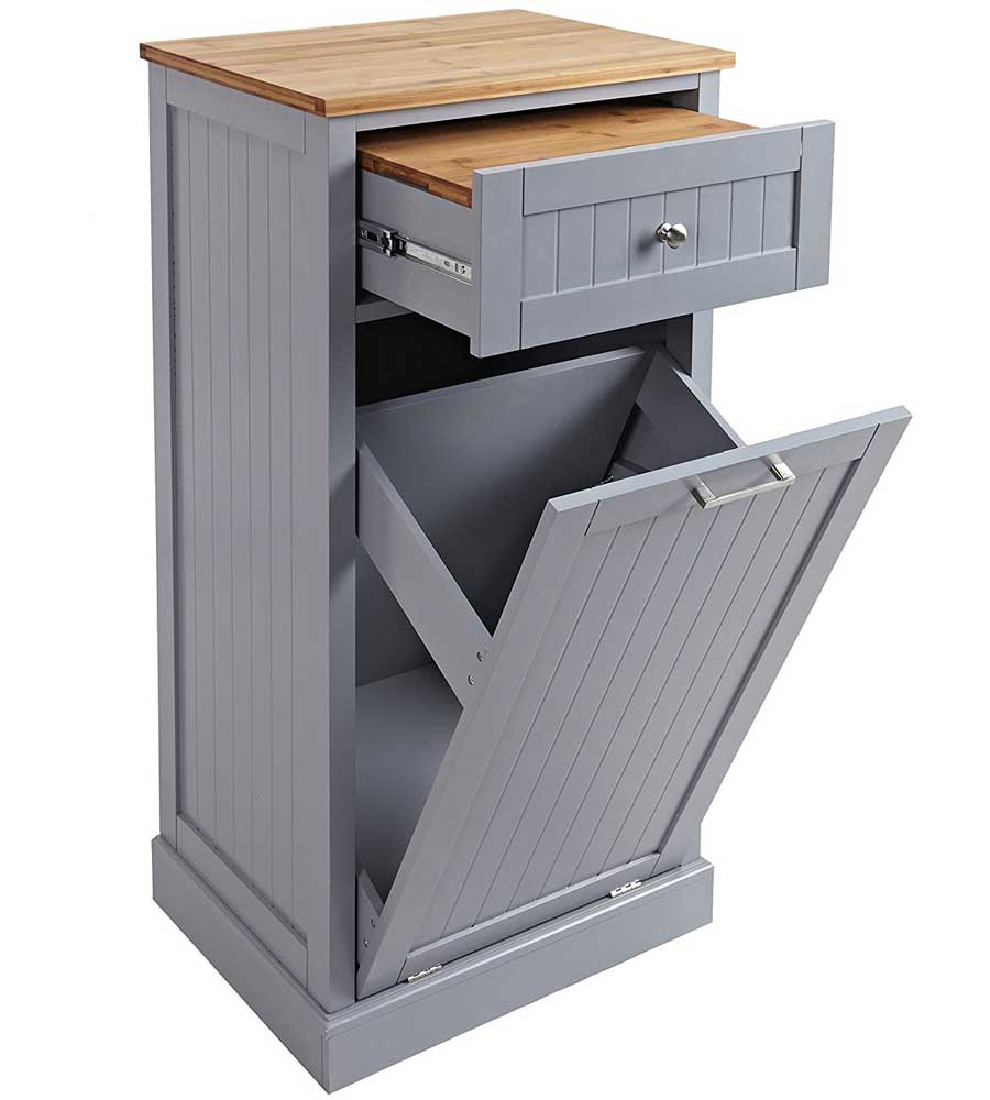 Microwave Cart And Trash Hideaway In Kitchen Island Carts