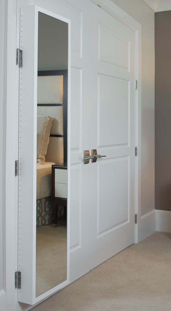 Mirrored Cabinet Hinge Mounted In Behind The Door Storage