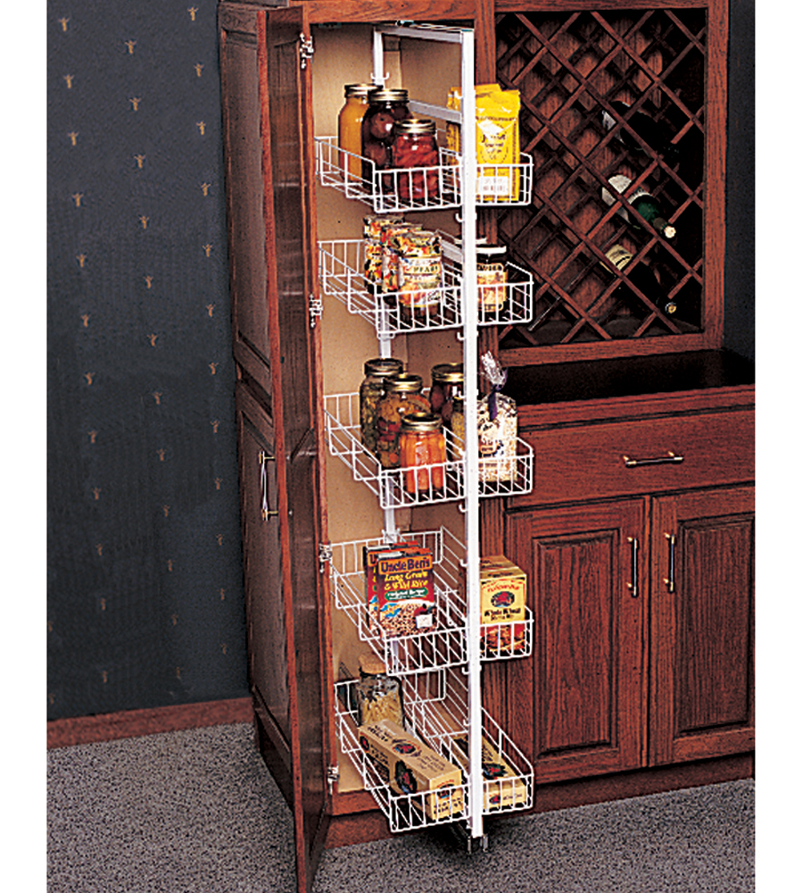 Contemporary Kitchen Storage Systems: Pantry Cabinet: Roll Out Pantry Cabinet With Tall Pull Out