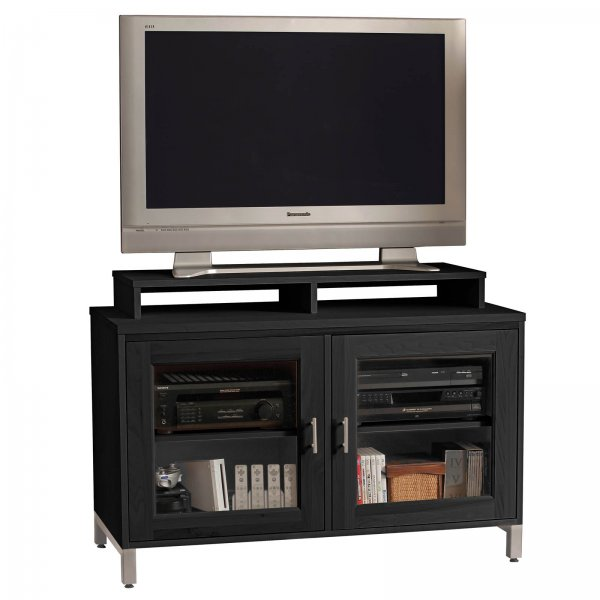 s isabel 50 inch wide glass door television console with shelf by stacks and stacks by howard. Black Bedroom Furniture Sets. Home Design Ideas
