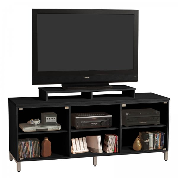 s michael 70 inch wide flat screen glass front television console with shelf by stacks and. Black Bedroom Furniture Sets. Home Design Ideas