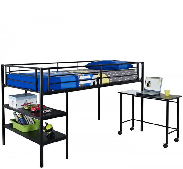 twin loft bed with desk and shelves in bunk beds. Black Bedroom Furniture Sets. Home Design Ideas