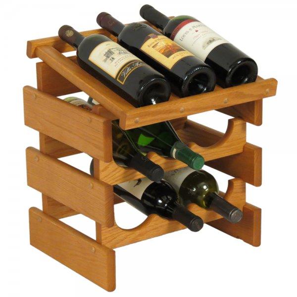 Wood Wine Rack 9 Bottle Display In Wine Racks