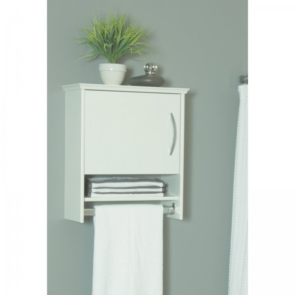 wall cabinet with towel bar 7 inch deep in bathroom