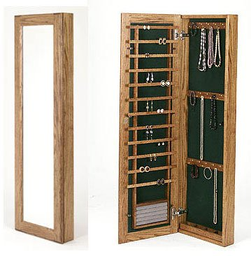 Small Wall Mounted Jewelry Cabinet Keyed Lock In Jewelry