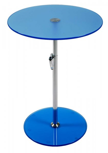 Round Colored Glass Adjustable Side Table In Side Tables