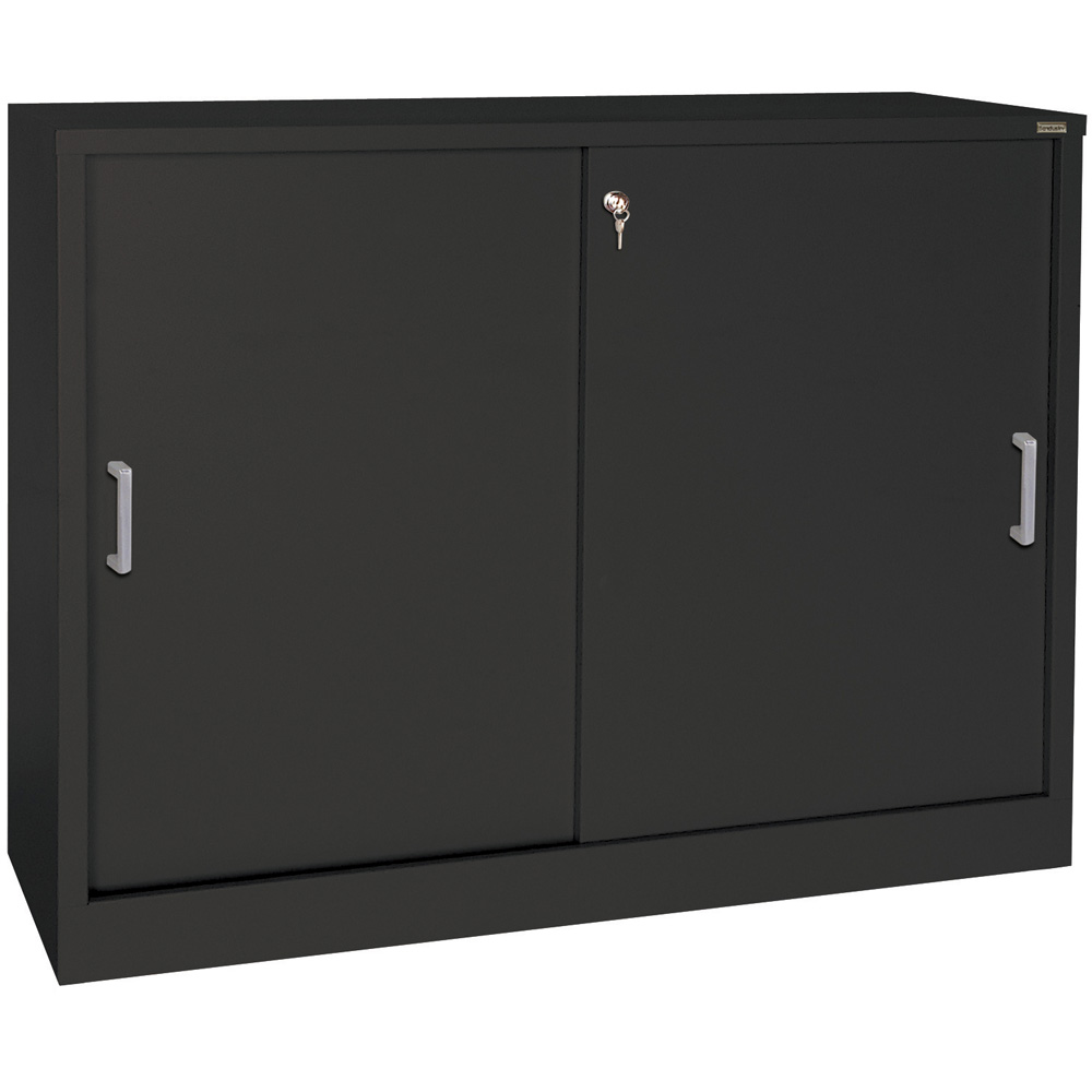 Sliding door storage cabinet 29 inch high in storage for Sliding cupboard doors