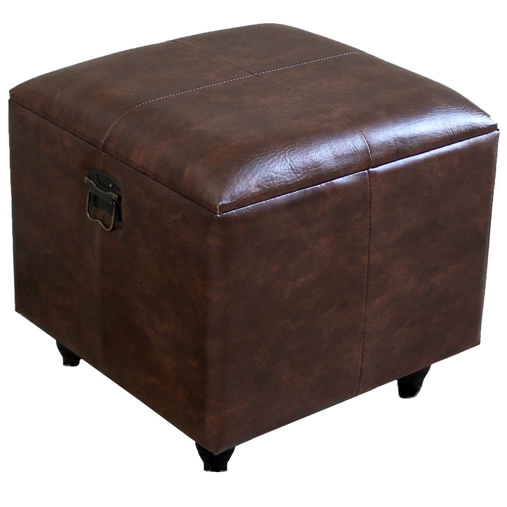 square faux leather ottoman with lid in ottomans. Black Bedroom Furniture Sets. Home Design Ideas