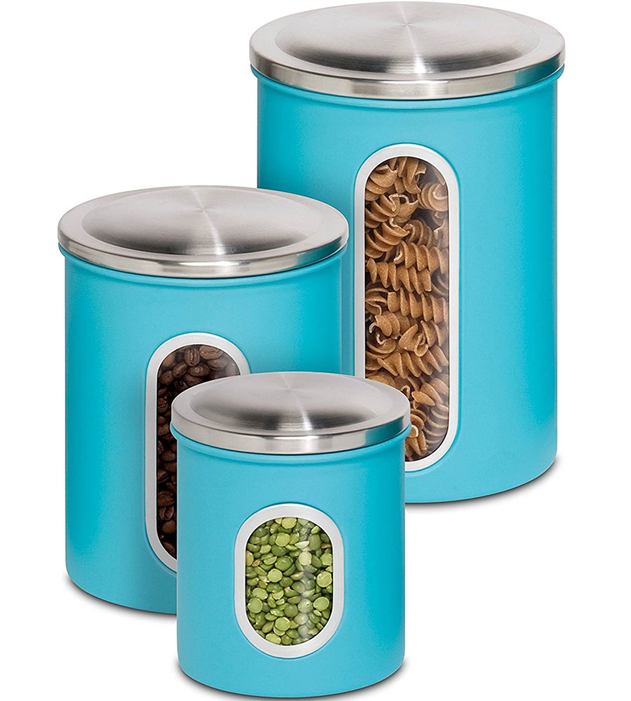 stainless steel kitchen canisters set of 3 in kitchen