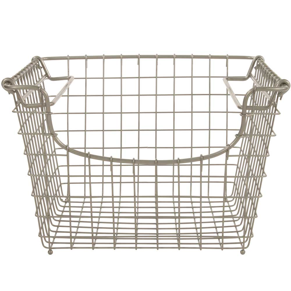 storage basket medium stacking in wire baskets. Black Bedroom Furniture Sets. Home Design Ideas