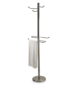 Tall Robe And Towel Bathroom Valet In Free Standing Towel