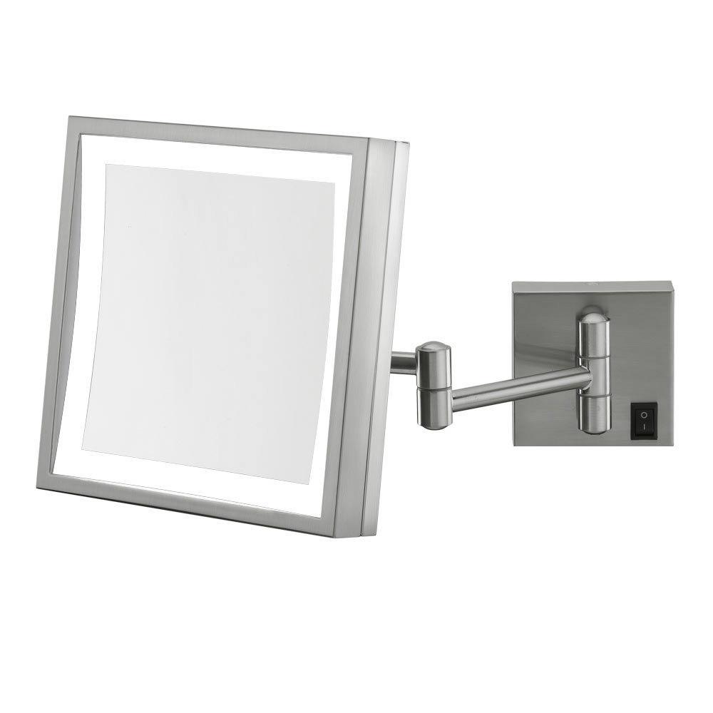 Wall mounted makeup mirror square 3x in wall mirrors for Wall mounted mirror