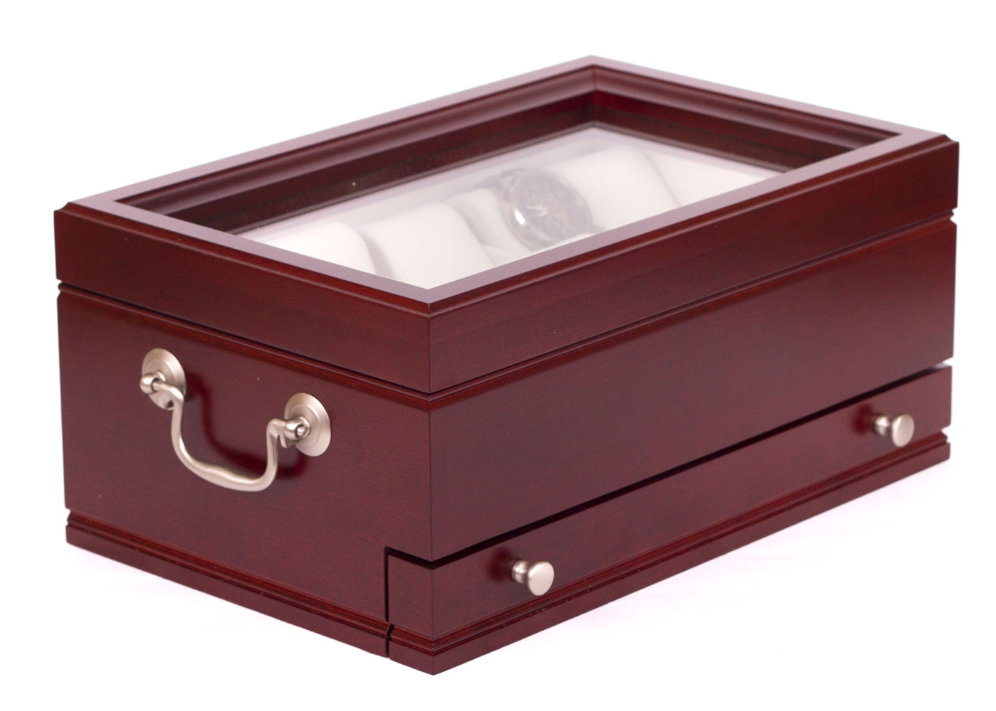 Very Impressive portraiture of Watch Storage Box with Drawer Cherry Wood in Watch Cases with #48181C color and 1399x1000 pixels