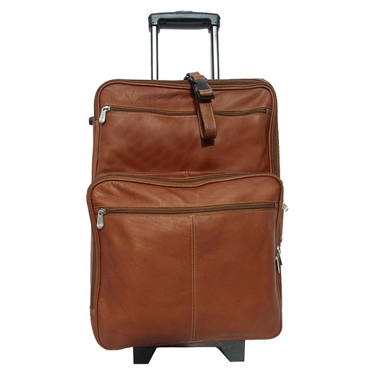 22 Inch Leather Carry On Suitcase In Rolling Luggage