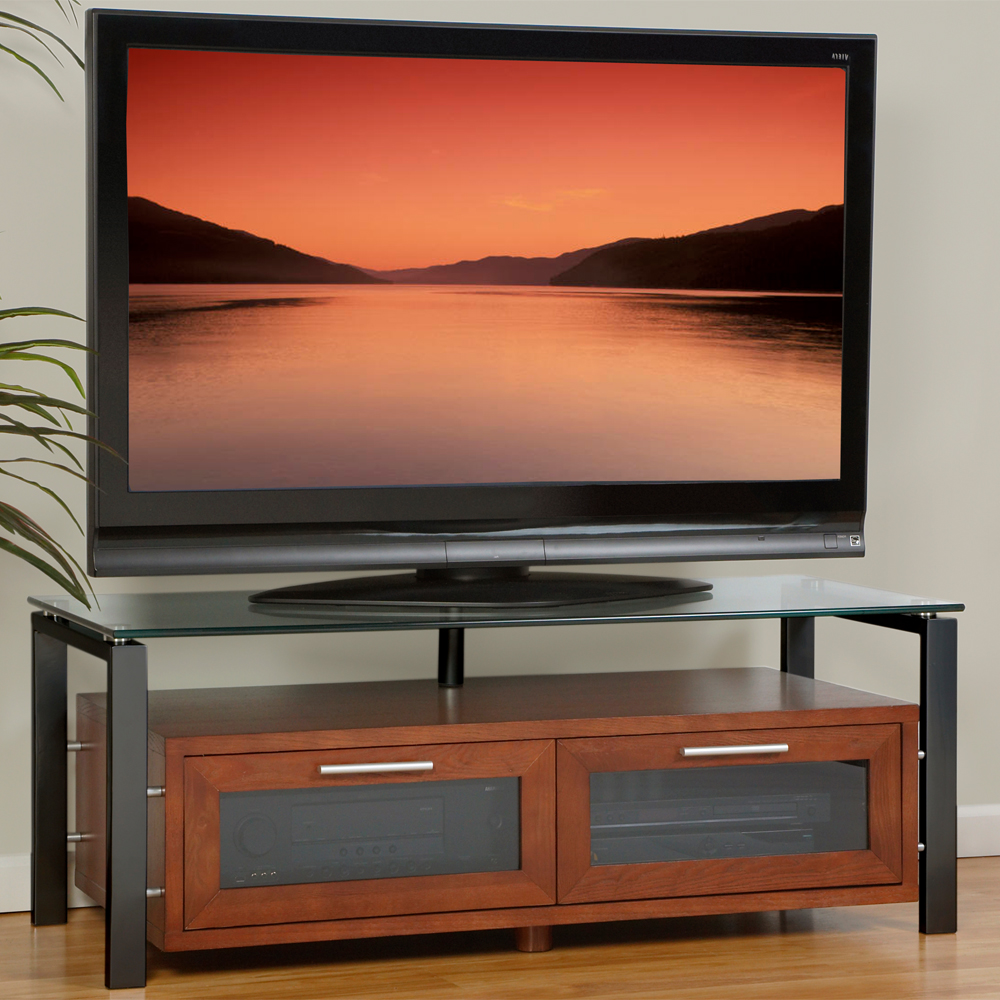 Wood And Glass Entertainment Center In Tv Stands