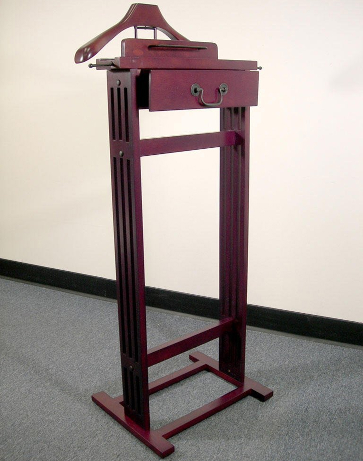 Wooden valet stand in suit valets